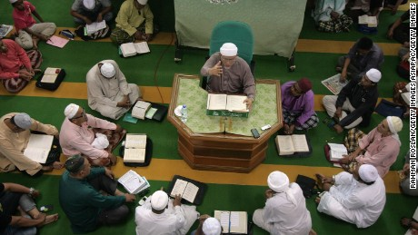 Pan-Malaysian Islamic Party president Abdul Hadi Awang during a weekly sermon on April 26, 2013.