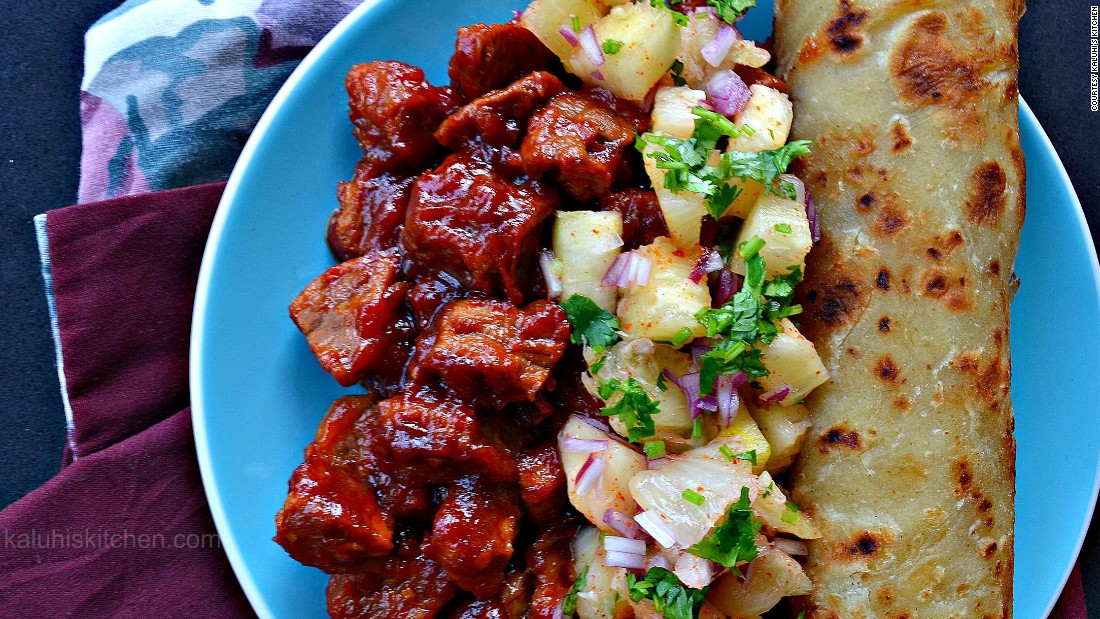 "Adagala's <a href=""http://www.kaluhiskitchen.com/sweet-and-sour-pork-with-pineapple-salsa/"" target=""_blank"">sweet and sour pork with pineapple salsa</a> is made with pork marinated in passion fruit, and a salsa made from pineapples, cayenne pepper, onions and coriander."
