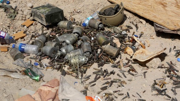 Grenades and shells lie on the ground in Falluja during fighting between Iraqi forces and ISIS on June 1.