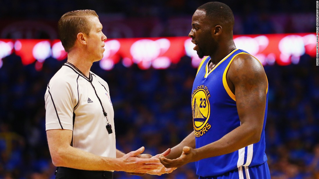 Draymond Green (right) of the Warriors pleads his case with a referee in the Western Conference Finals. Green is just one flagrant foul or two technical fouls away from a one-game suspension in the finals.