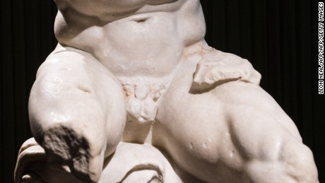 """The Belvedere Torso"", a Roman marble figure from the first century BC, is displayed during a press preview of the British Museum's ""Defining beauty: the body in ancient Greek art"" in central London on March 24, 2015. Running from march 26 to July 5 2015, the exhibition explores the Greek preoccupation with the human form, and features around 150 objects. These include bronzes and vases as well as iconic white marble statues and sculptures. AFP PHOTO / LEON NEAL        (Photo credit should read LEON NEAL/AFP/Getty Images)"