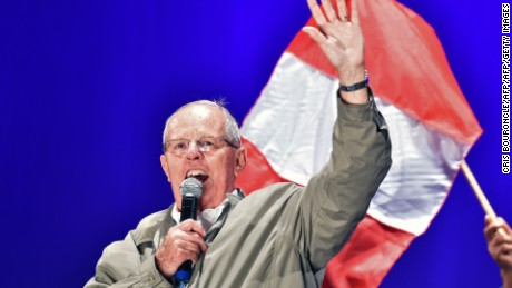 "Peruvian presidential candidate for the ""Peruvians for Change"" party, Pedro Pablo Kuczynski, is pictured during a campaign rally in Lima on May 24, 2016 ahead of the June 5 run-off election. Moderate conservative Kuczynski will face conservative Keiko Fujimori of the ""Popular Strength"" party, in the upcoming June 5 vote. / AFP / CRIS BOURONCLE        (Photo credit should read CRIS BOURONCLE/AFP/Getty Images)"