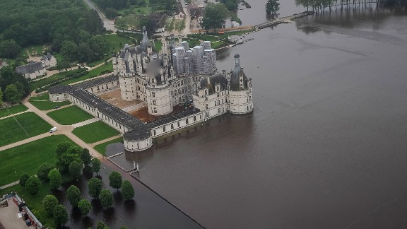An aerial photo shows flood waters around the 16-th century chateau of Chambord on June 2 after the Cosson burst its banks.