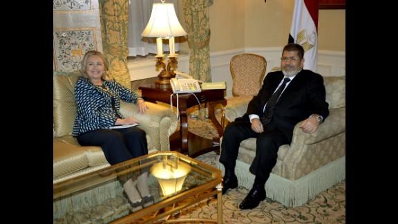 Egyptian President Mohamed Morsy meets with Clinton in New York on September 24, 2012.