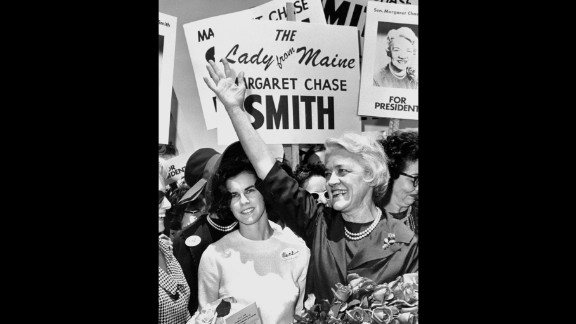 Sen. Margaret Chase Smith was the first woman to serve in the House of Representatives and Senate. She was also the first woman to be placed in nomination for the presidency at a major party