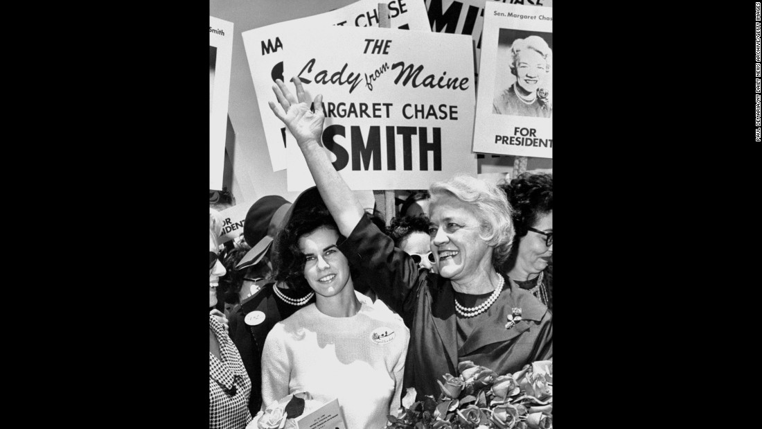 Sen. Margaret Chase Smith was the first woman to serve in the House of Representatives and Senate. She was also the first woman to be placed in nomination for the presidency at a major party's convention (the Republican National Convention in 1964).