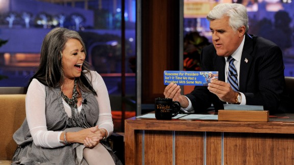 """Roseanne Barr announces she is a candidate for president on """"The Tonight Show with Jay Leno"""" in 2011. She won the 2012 nomination of the Peace and Freedom Party."""