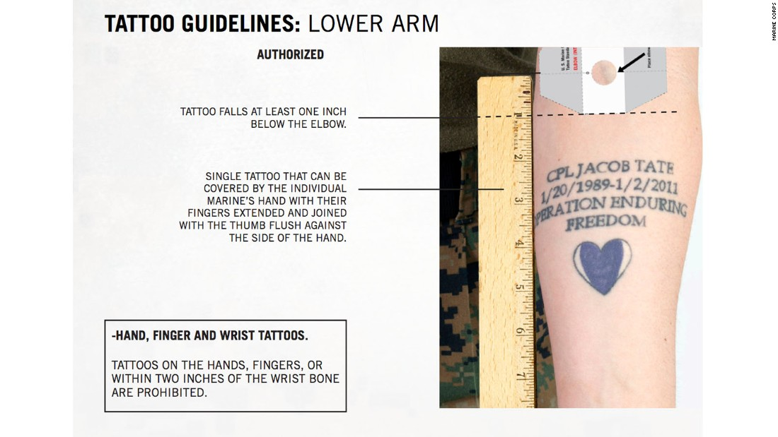 usmc tattoo policy Marine vet quits his job over 'semper fi' tattoo, finds his truer calling at a va   the hospital had a longstanding policy that required tattoos be.