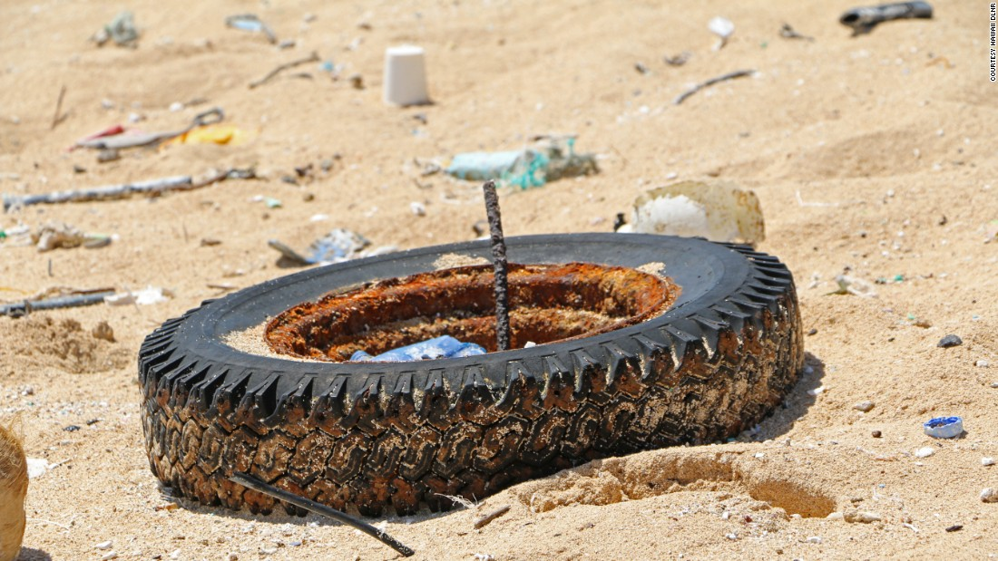It's not just small bits of plastic making its way to Hawaii's coast. Large items like tires, buoys and even abandoned fishing boats are showing up onshore.