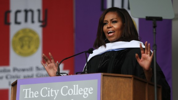 First lady Michelle Obama delivers the commencement speech after being presented with an honorary doctorate of humane letters at City College on June 3, 2016 in New York City.