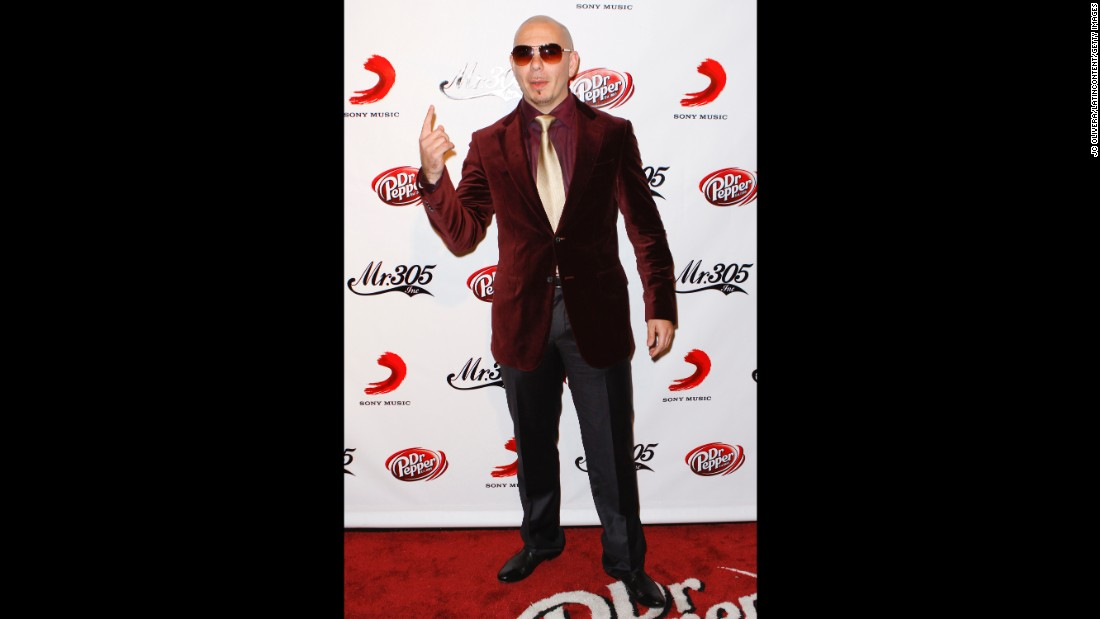 Singer Pitbull attends a Dr Pepper release party. He's also endorsed Pepsi and Sheets Energy Strips, a tongue strip that delivers 100mg of caffeine in each serving.