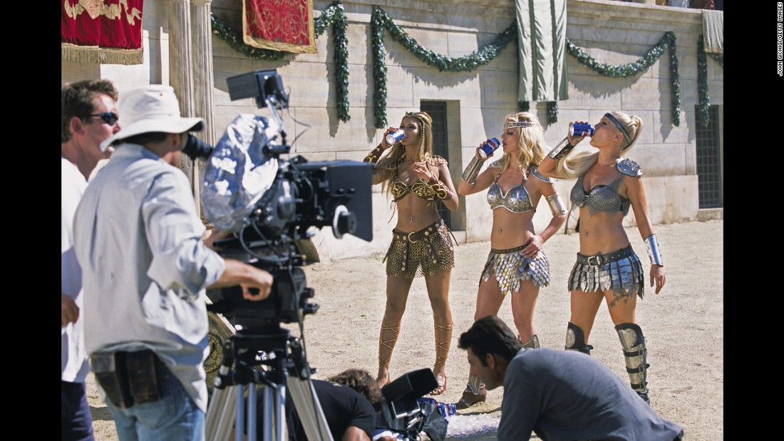 "Beyonce, Britney Spears and Pink drink Pepsi during the making of the ""Pepsi Gladiators"" music commercial."