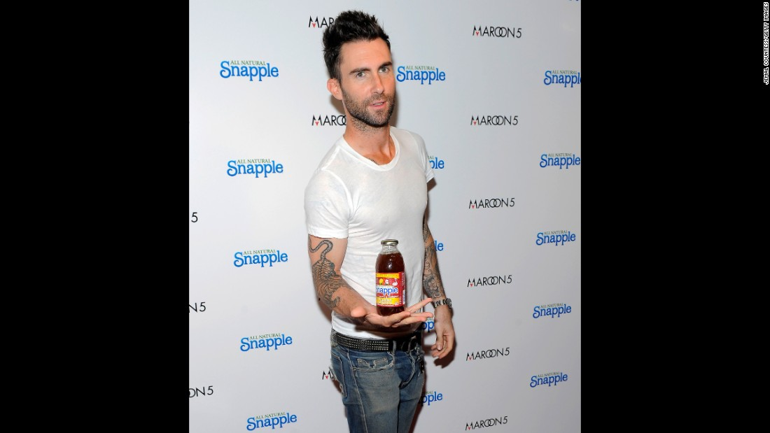 "Adam Levine, lead singer for the group Maroon 5, endorsing Snapple. A<a href=""http://www.snapple.com/products/snapple-pink-lemonade"" target=""_blank""> bottle</a> of Snapple's Half and Half Tea has 50 grams of sugar, the daily limit <a href=""http://www.cnn.com/2016/01/07/health/2015-dietary-guidelines/"">recommended</a> by the new U.S. dietary guidelines."