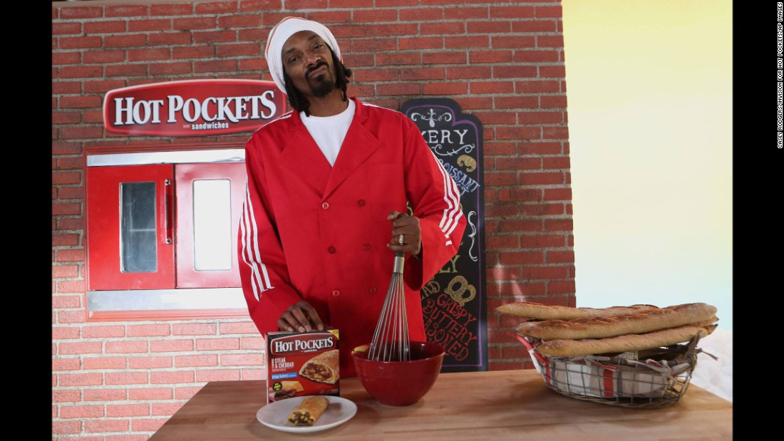 "Snoop Dogg on the set of the ""You Got What I Eat"" music video, sponsored by Hot Pockets."