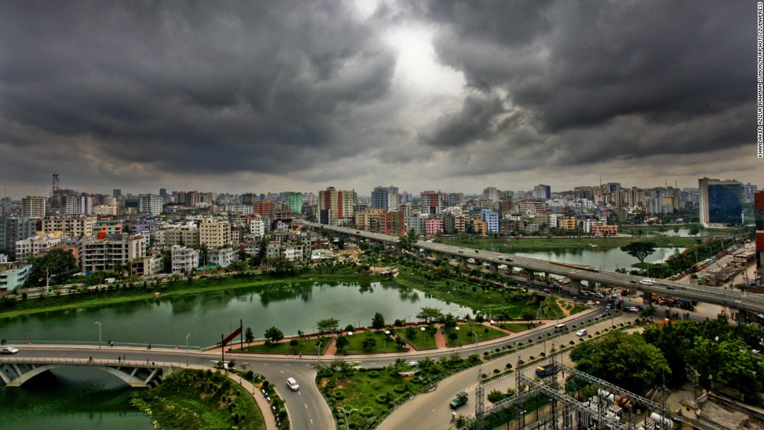 Clouds gather over Dhaka, Bangladesh, on Friday, May 20, as Cyclone Roanu heads toward its coastlines. At least 24 people were killed after Roanu hammered the country.