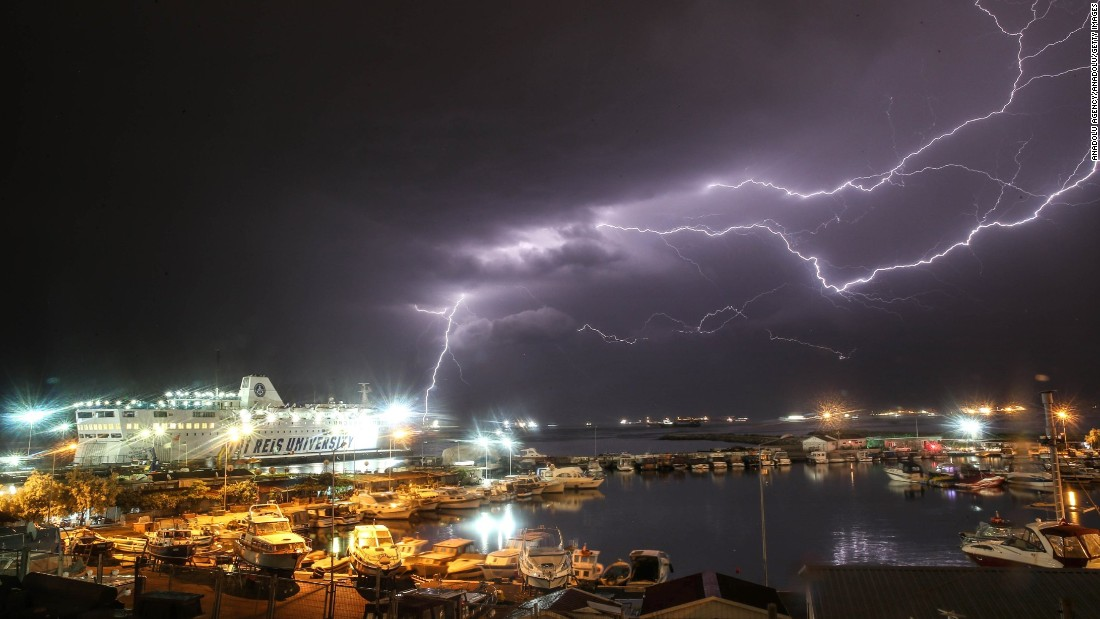 Lightning arcs across the sky in Istanbul on Sunday, May 15.
