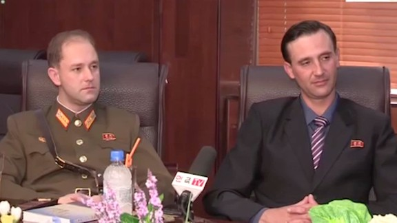 "The sons of an American defector to North Korea, one of whom is now a captain in the army, are featured in a propaganda video calling on the US ""to drop its hostile policy against North Korea"""