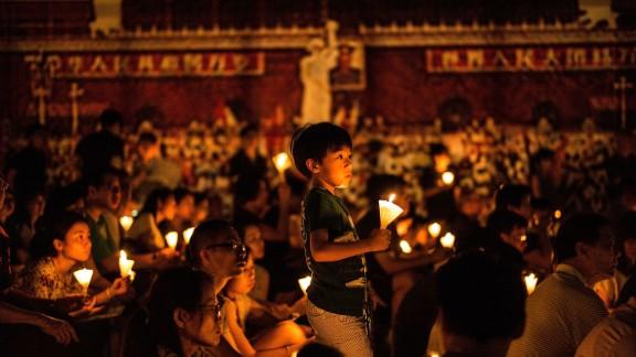 Hong Kongers commemorate the Tiananmen Square massacre of June 4, 1989.