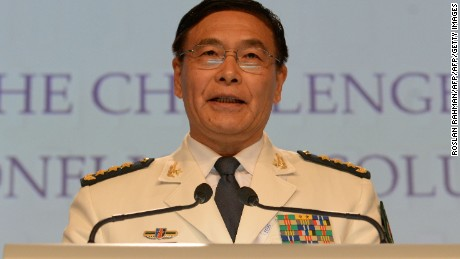 Chinese Admiral Sun Jianguo speaks at the Shangri-La Dialogue in Singapore on Sunday.