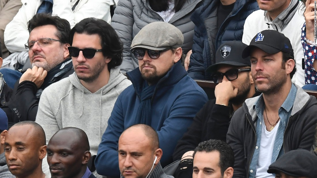 A whole host of famous stars were out to watch the final, including Oscar-winning actor Leonardo DiCaprio (C).