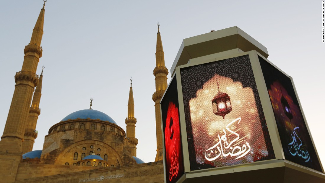 A large lantern decorates the street in front of the Mohammad al-Amin mosque in Beirut, Lebanon, on June 5.
