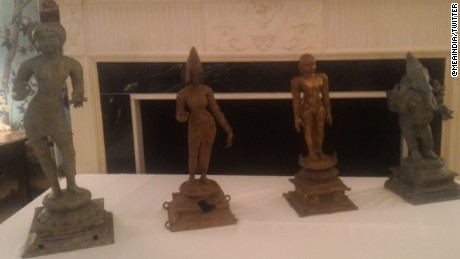 The ancient artifacts are lined up on display.  On the far right is a bronze of the widely worshiped Hindu deity Ganesha, with his elephant head and multiple upper limbs.  He is thought to  be over 1,000 years old.