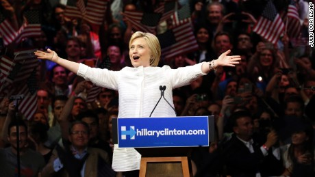 Democratic presidential candidate Hillary Clinton speaks during a presidential primary election night rally, Tuesday, June 7, 2016, in New York. (AP Photo/Julio Cortez)
