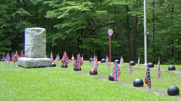 A picture from Shiloh National Military Park in 2010 shows one of the Confederate burial trenches.