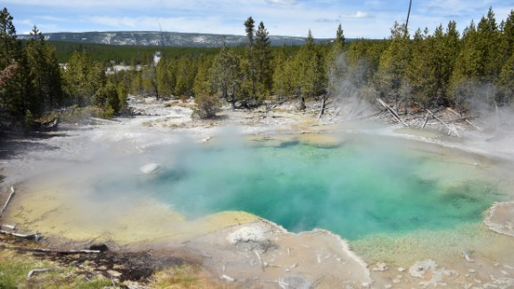 A view of a hot spring at the Norris Geyser Basin at Yellowstone National Park on May 12, 2016. Yellowstone, the first National Park in the US and widely held to be the first national park in the world, is known for its wildlife and its many geothermal features.  / AFP / MLADEN ANTONOV        (Photo credit should read MLADEN ANTONOV/AFP/Getty Images)