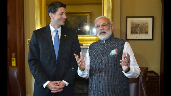House Speaker Paul Ryan spends time with Modi during a meeting at the U.S. Capitol on June 8.
