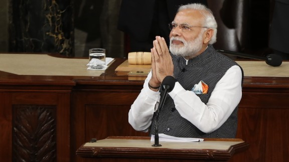 "Indian Prime Minister Narendra Modi addresses a joint meeting of the U.S. Congress on Wednesday, June 8. ""The traits of freedom and liberty form a strong bond between our two democracies,"" said Modi, who is in the Washington area for a three-day visit."