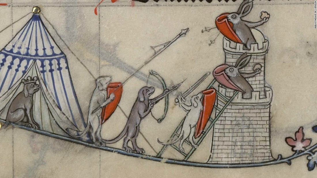 barbaric bunnies battle it out in medieval manuscripts cnn style