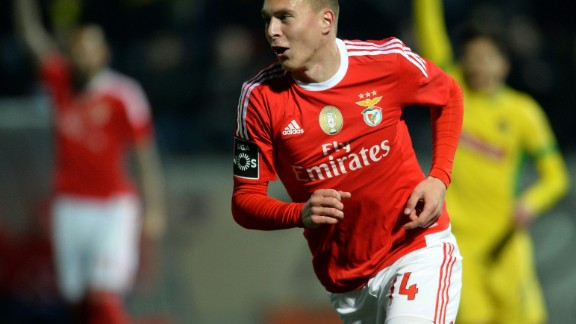 """Type Victor Lindelof into Google and you'll see a list of the world's biggest clubs linked with him: Real Madrid, Barcelona and Manchester United lead the way.  The level of interest is surprising given the 21-year-old central defender only made his debut for Benfica, who he joined in 2011, in January.  He may have started the season as fourth choice but he took his chance with both hands when it arrived.  Nicknamed the """"Iceman"""" because of his seemingly-unflappable personality, the tall shaven-headed youngster was so impressive that he made his international debut in March.  He started friendlies against Turkey and Czech Republic that month, and is set to be a Sweden regular for years to come."""