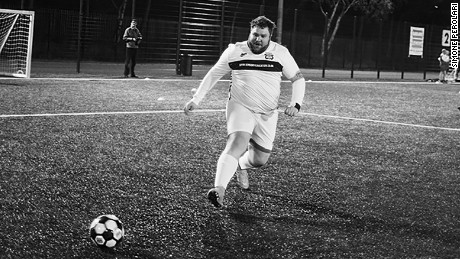 Solihull April 2016 - Andy Allsopp, 29 years old, team FC EGCO, The great star of Fat football league in action.