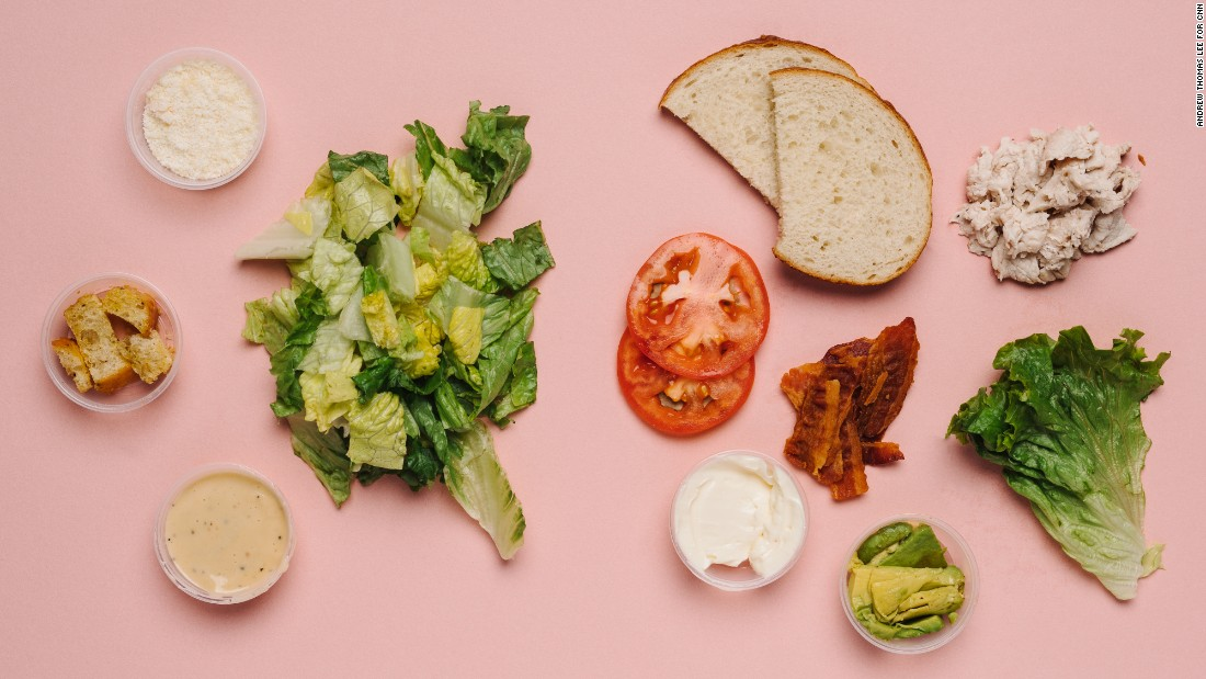 For those who need to keep a close eye on their sugar intake, the roasted turkey and avocado BLT on sourdough (half) and Caesar salad (half) has only 2 grams of sugar; that's just half a teaspoon's worth.