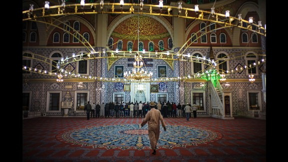Worshippers pray at the Nizamiye Mosque in Johannesburg on Tuesday, June 7.