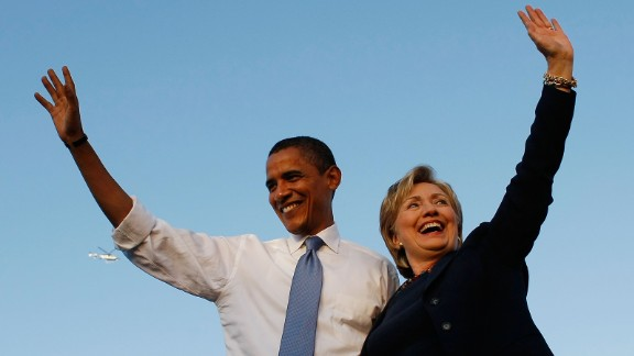 Democratic presidential nominee Barack Obama and Hillary Clinton attend a campaign rally together on October 20, 2008, in Orlando, Florida.