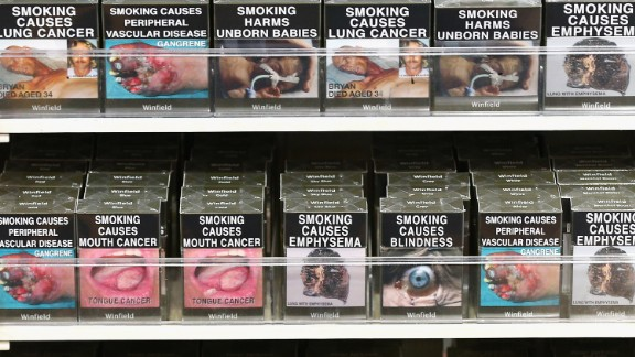 Muddy-colored cigarette packs in Australia also feature graphic health warnings. The UK has followed suit.