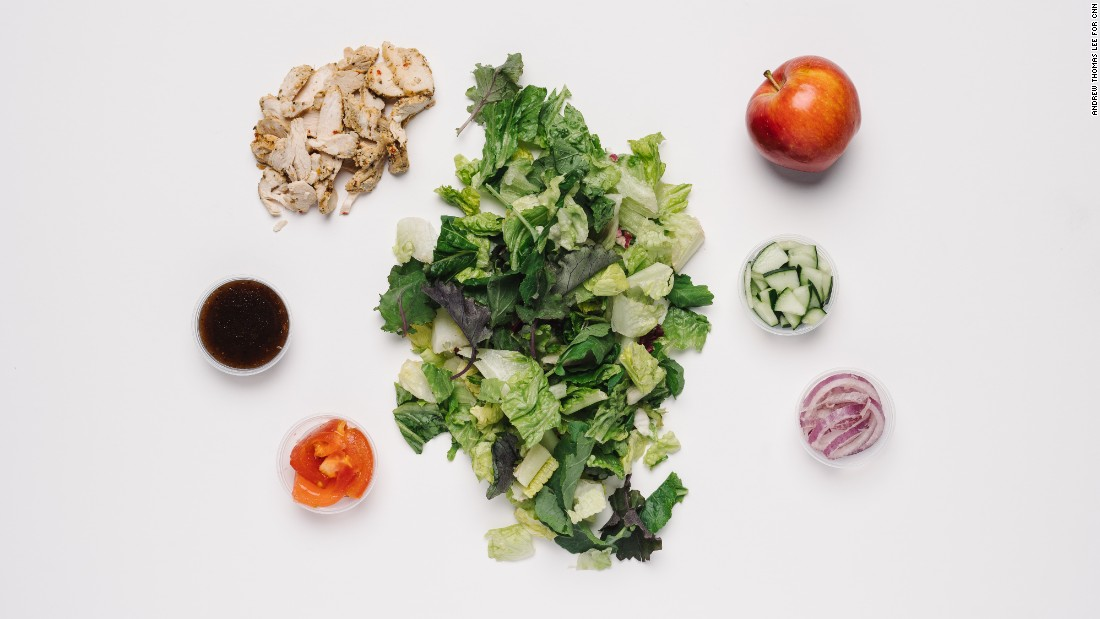 For those who need to keep a close eye on their salt intake, a seasonal green salad with chicken is one of the lowest-sodium items on Panera's menu, at 320 milligrams. Adding an apple gives a potassium boost, which helps to lessen sodium's effects on blood pressure.