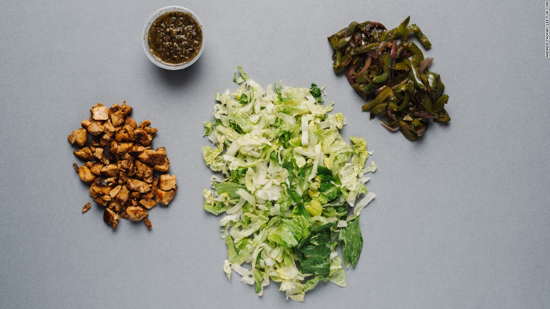 Chipotle's salad with romaine lettuce, chicken, fajita vegetables and tomatillo green-chili salsa has only 225 calories if you skip the dressing.