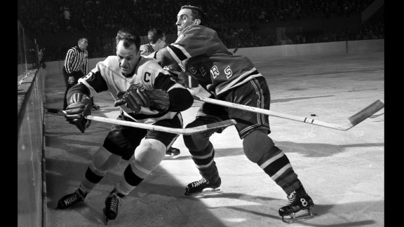 "Hockey legend Gordie Howe, left, scored 801 goals in his NHL career and won four Stanley Cups with the Detroit Red Wings. Howe, also known as ""Mr. Hockey,"" died June 10 at the age of 88, his son Marty said."