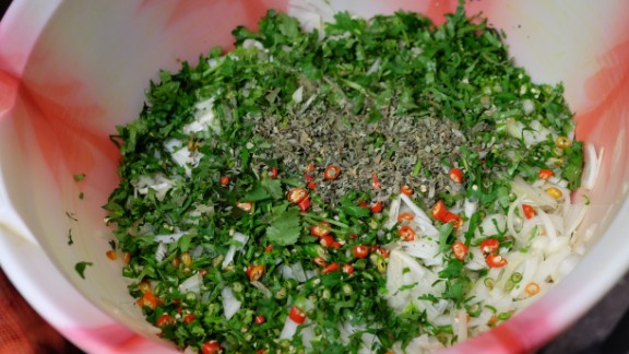 Coriander, chillies and onion -- some of the essential ingredients to a good curry at the Shaad restaurant