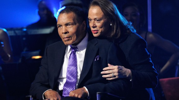 "Boxing legend Muhammad Ali (L) and wife Lonnie Ali appear onstage during the Keep Memory Alive foundation's ""Power of Love Gala"" celebrating Muhammad Ali's 70th birthday at the MGM Grand Garden Arena February 18, 2012 in Las Vegas, Nevada. The event benefits the Cleveland Clinic Lou Ruvo Center for Brain Health and the Muhammad Ali Center."