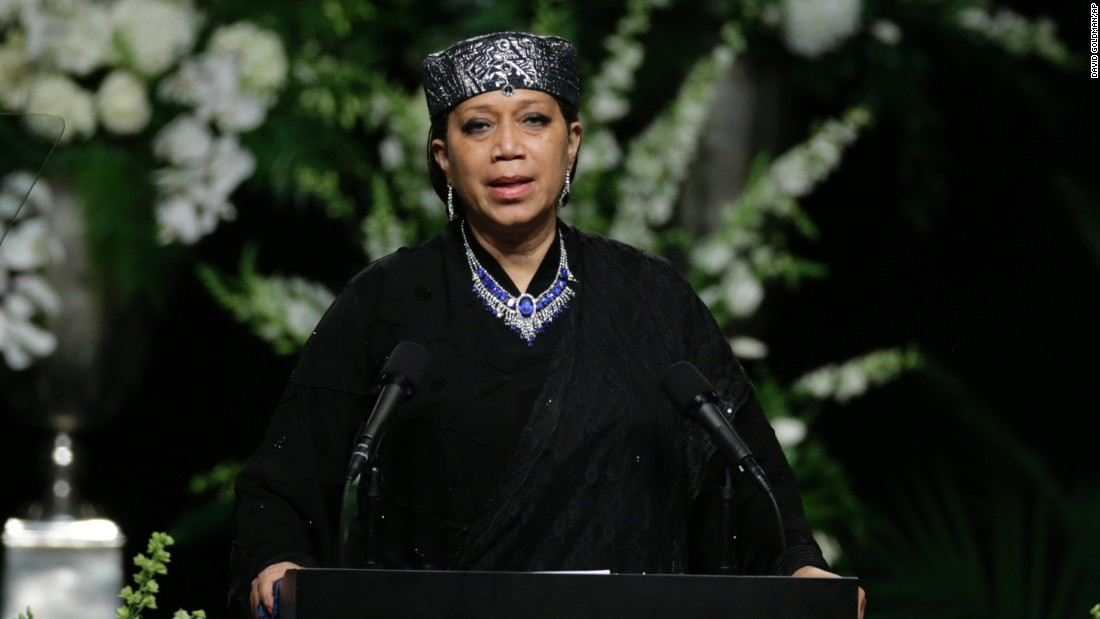Qubilah Shabazz, the daughter of Malcolm X and Betty Shabazz, speaks during the service.