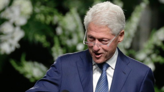 "Former President Bill Clinton delivers a eulogy during the service. ""I think (Ali) decided very young to write his own life story. ... He decided he would never be disempowered,"" Clinton said."