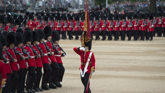 Members of Number 7 Company Coldstream Guards look their best during the parade.