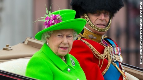 Queen Elizabeth II and Prince Philip, the Duke of Edinburgh, during the Trooping the Color, to mark the Queen's 90th birthday at The Mall in London on June 11, 2016.