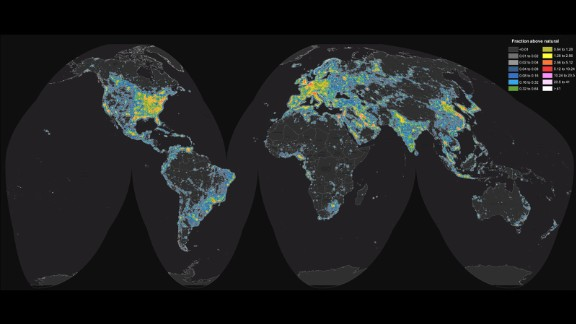 Scientists created a world atlas that shows the prevalence of artificial sky brightness. The colors denote the levels of light pollution around the globe.