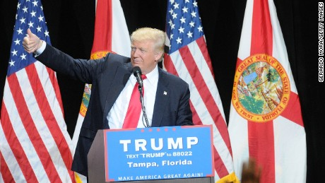Republican presidential candidate Donald Trump speaks during a campaign rally  at the Tampa Convention Center on June 11, 2016 in Tampa, Florida.