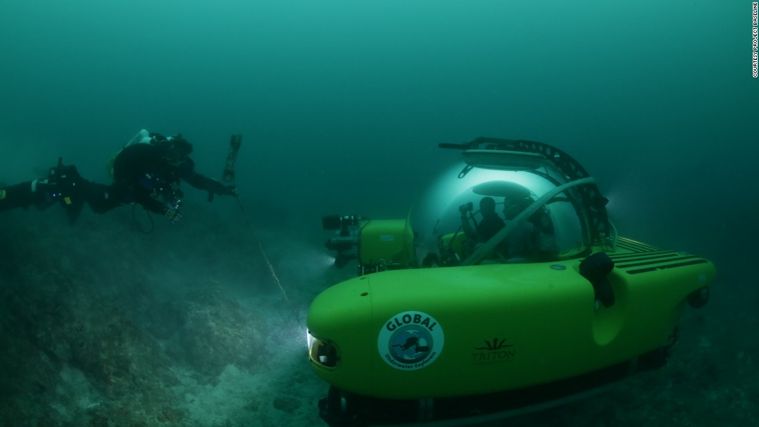 A project baseline team dives more than 90 feet to inspect sea life around the Hollywood Beach sewage outflow.